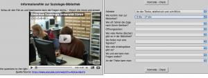 Beispiel für ein Video mit Fragen in Hotpotatoes.
